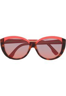 Fendi Eyewear Óculos De Sol Redondo - Laranja
