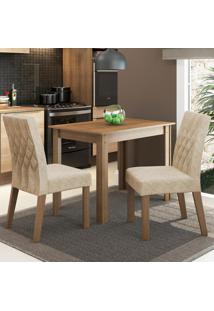 Conjunto Sala De Jantar Madesa Vivi Mesa Tampo De Madeira Com 2 Cadeiras Marrom - Tricae