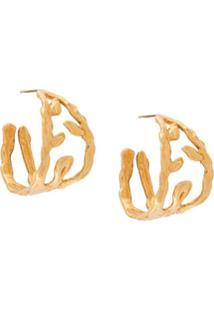 Marni Par De Brincos De Argola Com Folha - Dourado