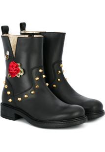 Monnalisa Ankle Boot De Couro Com Tachas - Preto