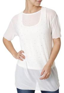 Blusa Regata Feminina Com Sobreposição Off White