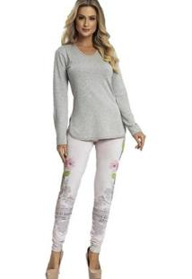 Pijama Recco Viscose Super Micro Feminino - Feminino-Cinza