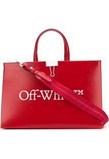 Off-White Bolsa Tote Com Estampa De Logo - Vermelho