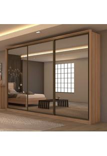 Guarda Roupa Casal Com 3 Espelhos 3 Portas De Correr 6 Gavetas Spazio Super Glass Móveis Lopas Carvalho Naturale