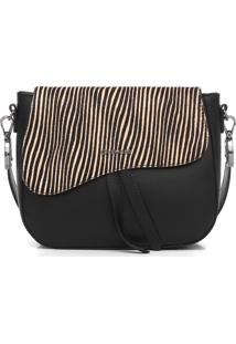 Bolsa Couro Dumond Zebra Preta - Kanui