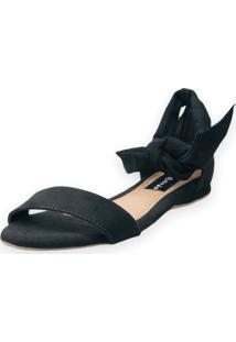 Sandália Rasteira Love Shoes Amarração Traseiro Nó Preto