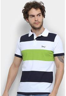 Camisa Polo Jimmy'Z Básica Rapport Masculina - Masculino-Branco+Verde