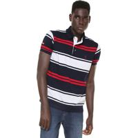 Camisa Polo Aleatory Reta Listrada Azul-Marinho Branco e1bba9163c1a6