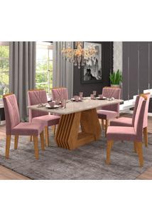 Conjunto De Mesa Para Sala De Jantar Com 6 Cadeiras 180X90 Agata/Nicole-Cimol - Savana / Offwhite / Rose