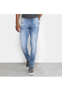 Calça Jeans Skinny Biotipo Puídos Cintura Média Masculina - Masculino-Azul Claro