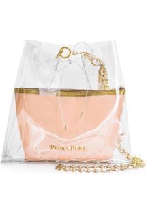 Bolsa Pedra Pura Chaveiro Franja Feminina - Feminino-Rosa+Dourado