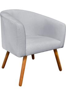 Poltrona Decorativa Stella Linho Cinza Texturizado A53 Pés Palito - D'Rossi