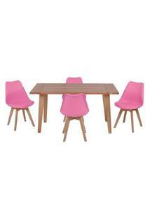 Conjunto Mesa De Jantar Em Madeira 150X80 Vértice + 4 Cadeiras Leda - Rosa