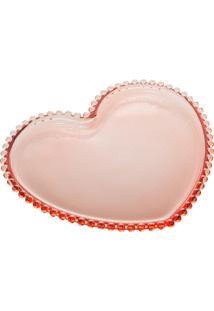 Conjunto 4 Pratos Cristal Coração Pearl Rosa 18X15X2Cm