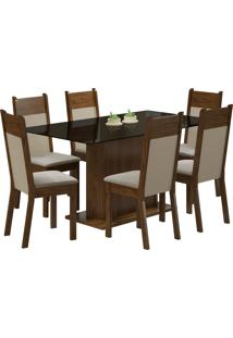 Conjunto Sala De Jantar Madesa Mesa Com Tampo De Vidro E 6 Cadeiras Atlanta - Rustic/ Pérola