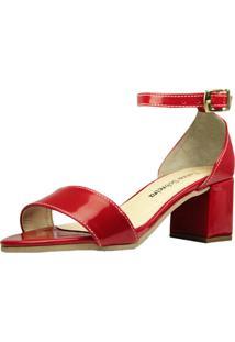 Sandália Salto Grosso Luiza Sobreira Verniz Vermelho Mod.4075