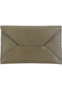 Carteira Couro Shoestock Envelope Feminina - Feminino-Verde