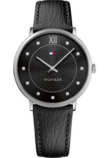214eb7a694b ... Relógio Tommy Hilfiger Feminino Couro Preto - 1781808