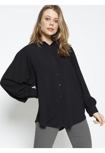 Camisa Lisa Com Franzidos - Preta - Colccicolcci