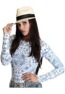 Blusa Ficalinda Manga Longa Proteção Uv Fashion 50+ Feminina - Feminino-Azul+Branco