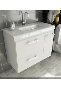Gabinete Para Banheiro 80 Cm Com 2 Peças Vetro 13 Branco Tomdo