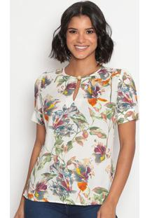 Blusa Floral Com Recortes & Fendas-Branca & Laranja-Vip Reserva