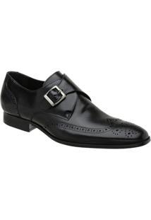 Sapato Monk Oxford Masculino Malbork Em Couro 60053 - Masculino-Preto