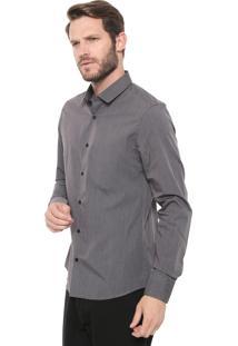 Camisa Calvin Klein Slim Padronagem Cinza
