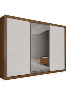 Armário 03 Portas De Correr 2,46 Espelho Central, Imbuia Com Branco, Premium Plus Ii