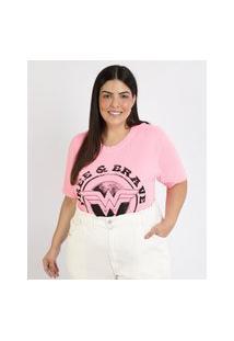 Blusa Feminina Plus Size Mulher Maravilha Manga Curta Decote Redondo Rosa