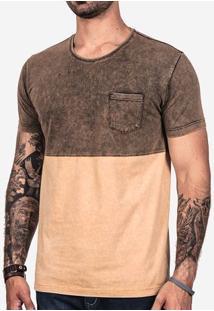 Camiseta Meio A Meio Mostarda Marmorizada 101839