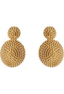 Par De Brincos Folheado A Ouro Texturizado- Dourado-Carolina Alcaide
