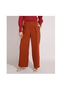 Calça Wide Pantalona Alfaiataria Cintura Alta Com Bolsos Caramelo
