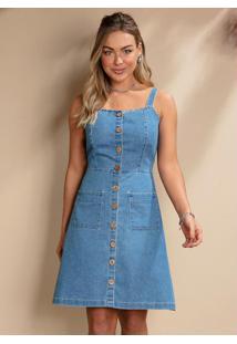 Vestido Jeans Com Vista Frontal De Botões E Bolsos