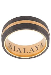Nialaya Jewelry Anel Com Gravação - Amarelo