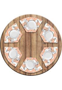 Jogo Americano Love Decor Para Mesa Redonda Wevans Marble Geometric Kit Com 6 Pçs