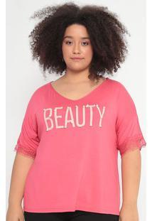 "Blusa ""Beauty"" Com Pedrarias- Rosa & Bege Claro- Malmalwee"