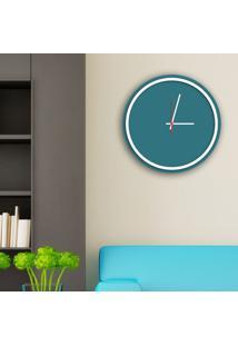 Relógio De Parede Decorativo Premium Minimalista Ágata Com Borda Branca Em Relevo Médio