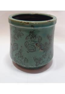Vaso Verde Agua C/ Detalhes Rusticos De Flores - Multicolorido - Dafiti