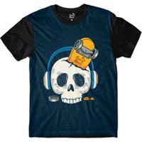 ba2d2730bb Camiseta Long Beach Caveira Fones Sublimada Masculina - Masculino -Marinho+Preto