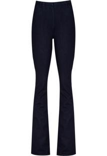 Calca Jeans Flare Bolso Embutido (Jeans Escuro, 36)