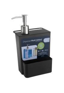 Dispenser Multi Glass 12 X 10,6 X 20,8 Cm 600 Ml Preto Coza