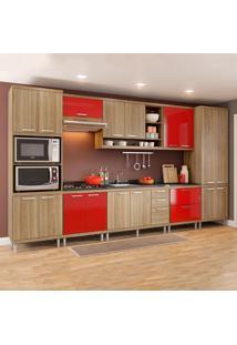 Cozinha Completa Sem Tampo 17 Portas 5832 Argila/Vermelho - Multimóveis