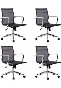 Conjunto Com 4 Cadeiras De Escritório Diretor Giratórias Eames Star Preta