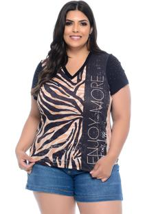 Blusa T-Shirt Plus Size Elegance All Curves Preta Estampa Animal Print - Preto - Feminino - Dafiti