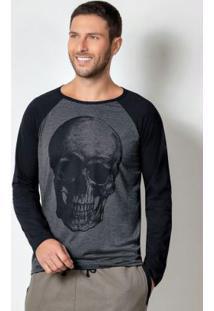 Camiseta Mescla E Preta Com Cava Raglan