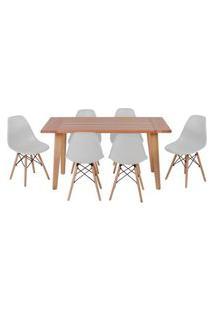 Conjunto Mesa De Jantar Em Madeira 150X80 Vértice + 6 Cadeiras Eiffel - Cinza