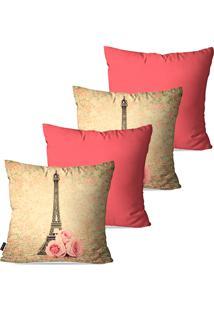 Kit Com 4 Capas Para Almofadas Decorativas Rosa Torre Eiffel 45X45Cm Pump Up - Rosa - Dafiti