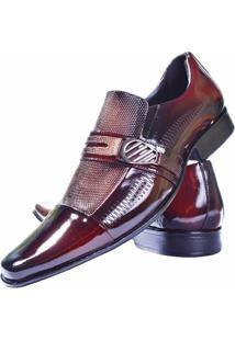 Sapato Social Gofer Couro Verniz - Masculino-Vermelho