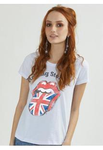 Camiseta Bandup The Rolling Stones Uk Flag - Feminino-Branco